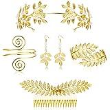 LOYALLOOK 5Sets Grecian Goddess Costume Accessories Set Greek Leaf Headband Coil Bracelet Artificial Pearl Earrings Golden Le