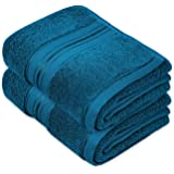 Cleanbear Cotton Hand Towel Thick Bathroom Hand Towels - 2 Pack (Peacock Blue), 13 x 28 Inches