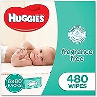 Huggies Fragrance Free Baby Wipes Bundle Pack (Pack of 480), (6 x 80 Pack), Packaging may vary