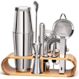11 Pieces Mixology Bartender Kit by Mixologic: 304 Stainless Steel Boston Cocktail Shaker Bar Set With Sleek Bamboo Stand & E