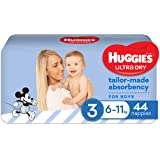 Huggies Ultra Dry Nappies, Boys, Crawler (6-11kg), 44 Count, Size 3, 1.707 kilograms