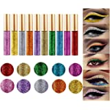 10 Colors Liquid Glitter Eyeliner Metallic Shimmer Glitter Eyeshadow Pigment Eyebrown Shimmer Waterproof Face Lips Art for Pa