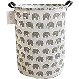 LEELI laundry Hamper with Handles-Collapsible Canvas Basket for Storage Bin,Kids Room,Home Organizer,Nursery Storage,Baby Ham