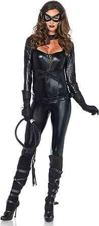 LEG AVENUE(レッグアベニュー) Cat Girl ジャンプスーツ ベルト グローブ アイマスク コスチューム ブラック レディース Mサイズ