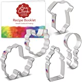 Ann Clark Cookie Cutters Baby Shower Cookie Cutter Set with Recipe Book - 5 Piece - Onesie, Bib, Rattle, Bottle, and Baby Car