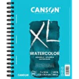 Canson XL Series Watercolor Textured Pad, Use with Paint Pencil Ink Charcoal Pastel and Acrylic, Side Wire Bound, 140 Pound,