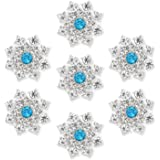 Silver Crystal Snowflake Rhinestone Buttons Brooches - YIMIL Flat Back Rhinestone Buttons for Crafts Flower Embellishments Br