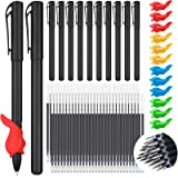 84 Pieces Magic Practice Pen Include 12 Pen, 60 Refills and 12 Pen Holders Auto Disappearing Ink Magic Ballpoint Pens English