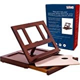 U.S. Art Supply Walnut Solana Adjustable Wood Desk Table Easel with Storage Drawer Premium Beechwood