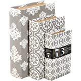 """Hosley Storage Memory Book Box Set /3, Gray White Farmhouse Large 12"""", Med 10"""" Small 8"""" High Ideal Gift for Wedding Memories"""