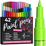 Artistro Paint pens for Rock Painting, Stone, Ceramic, Glass, Wood. Set of 42 Acrylic Paint Markers Extra-fine tip