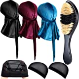 7 Pieces Velvet Durag Caps Wave Cap and 360 Wave Brush Kits, Includes 3 Long Tail Headwraps Wide Straps Waves 3 Wig Caps and