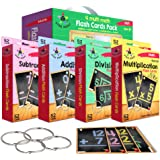 Star Right Multi Math Flashcards Pack - Addition, Subtraction, Multiplication, & Division - 1 Ring and 52 Hole Punched Cards
