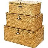 Yesland Woven Wicker Storage Bins with Lid - Set of 3 - Rectangular Seagrass Basket/Storage Basket for Shelf Organizer