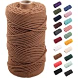 Coffee Macrame Cord 3mm x 109yards, Colored Macrame Rope, 3 Strand Twisted Cotton Rope Macrame Yarn, Colorful Cotton Craft Co