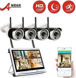 ANRAN 防犯カメラ ワイヤレス 4台 モニター付き 監視カメラ WIFI 200万画素 遠隔監視 HDD付いてない