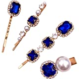 4PCS Vintage Sapphire Blue Crystal Pearl Gold Bobby Pins Decorative Hair Slides Clips Accessories Women