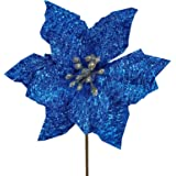 "24 Pcs Christmas Blue Metallic Glitter Artificial Poinsettia Flower Picks Tree Ornaments 5.1"" W in Box for Blue Christmas Tre"