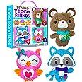 KraFun Sewing Kit for Kids Age 7 8 9 10 11 12 Beginner My First Art & Craft, Includes 3 Stuffed Animal Dolls, Instruction & P