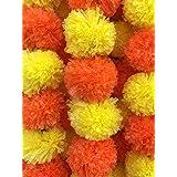 DECORATION CRAFT Artificial Marigold Flower Garlands 5 Feet Long (Dark Orange and Yellow, 5)