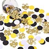 360 Pieces Bee Confetti Gold Glitter Bee Confetti Yellow Black Circle Confetti for Bee Themed Party Baby Shower Birthday Tabl