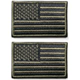 Ogrmar Tactica American Flag Embroidered Patch USA United States of America Military Uniform Emblem Pack of 2 (Green)
