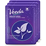 Veeda Ultra Thin Super Absorbent Natural Cotton Sanitary Towels, 3 Packs of 12 Count.