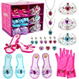 Girl Princess Dress Up Shoes Set Princess Role Play Collection Kit Pretend Jewelry Toys Accessories Set with Tiaras Crown Glo
