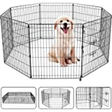 "30"" Dog Playpen Dog Dence Exercise Pen, 8 Panel Pet Pet Playpen Puppy Enclosure Fence Play Pen, Indoor/Outdoor Foldable Metal"
