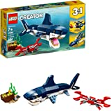 LEGO Creator 3in1 Deep Sea Creatures 31088 Make a Shark, Squid, Angler Fish, and Crab with this Sea Animal Toy Building Kit (