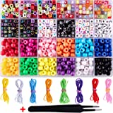 Duufin 1000 Pieces Bracelet Making Beads ABC Beads Pony Beads Letter Alphabet Beads with 8 Rolls Colorful Elastic Bracelet St