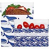 Lunchskins Reusable 2-Pack Velcro Bag Set, Blue Whale (1 Sandwich + 1 Snack)