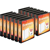 """Cardinal Economy 3-Ring Binders, 1.5"""", Round Rings, Holds 350 Sheets, ClearVue Presentation View, Non-Stick, Black, Carton of"""