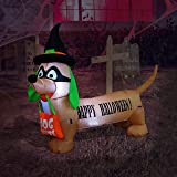 BZB Goods 4 Foot Long Illuminated Halloween Inflatable Dog with Witch Hat and Mask Decoration
