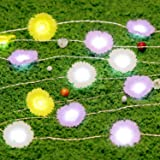 Spring Garden Accent Lighting, Impress Life Daisy 10 ft 40 LED Fairy String Lights Battery Operated Remote Control Silver Wir