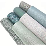 """ZAIONE 8"""" x 12""""(20cm x 30cm) Sheets Holographic Sparkle Chunky Mixed Glitter Faux Leather Colorful Multiple Styles Multiple C"""