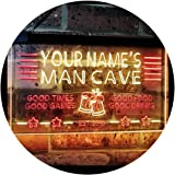 Personalized Name Custom Man Cave Home Bar Est. Year Dual Color LED Neon Sign Red & Yellow 400 x 300 mm st6s43-x0012a-tm-ry
