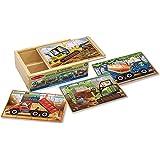 Melissa & Doug 3792 Construction Vehicles 4-in-1 Wooden Jigsaw Puzzles (48 pcs)