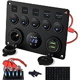 Kohree 5 Gang Rocker Switch Panel 12V Waterproof for RV Boat Car Vehicles Truck Marine, Toggle Led Switch Panel Digital Voltm