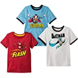 DC Comics Superheroes Boys 3 Pack Short Sleeve T Shirt Featuring Superman, Batman and The Flash