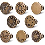 Jean Buttons Replacement No Sew Needed,8 Sets Jean Button Pins,Perfect Fit Instant Button Jean,Button Clips,Removable Adjusta