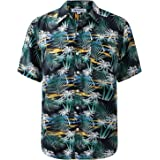 Mens Tropical Hawaiin Print Shirt Short Sleeve Chest Pocket Relax Fit Vintage Washed