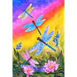Toland Home Garden Dusk Dragonflies 28 x 40 Inch Decorative Colorful Spring Summer Dragonfly Flower House Flag