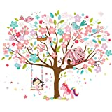 Kath & Cath Rainbow Unicorn, Pink Fairy, Gingerbread HoUSe, Singing Birds And Cherry Blossoms Tree Wall Stickers -Kids Girls