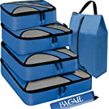 Bagail 6 Set Packing Cubes,Travel Luggage Packing Organizers with Laundry Bag Dark Blue