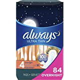 Always Ultra Thin Feminine Pads with Wings for Women, Size 4, 84 Count, Overnight Absorbency, Unscented, (28 count, Pack of 3