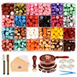Triwol Wax Seal Stamp Set, 672pcs Wax Seal Beads 24 Colors, Wax Seal Warmer and Spoon with Wax Cushion, Tree of Life Stamp, 1