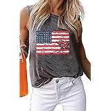 American Flag Tank Tops Women Patriotic Shirt USA Flag Stars Stripes Print Sleeveless T-Shirt 4th of July Tee Tops