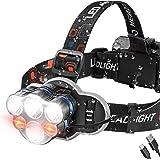 Headlamp, USB Rechargeable LED Headlamp Flashlight, 8 Modes Waterproof Head Lamp with Red Light, Ultra Bright Headlight Headl