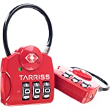 Tarriss TSA Luggage Lock with SearchAlert (2 Pack) (Red)